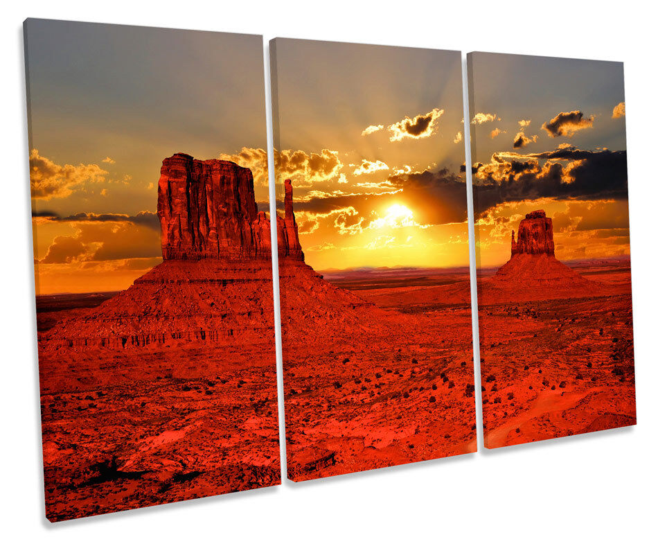 Arizona Sunset Landscape TREBLE CANVAS Wand Kunst Box Framed Bild