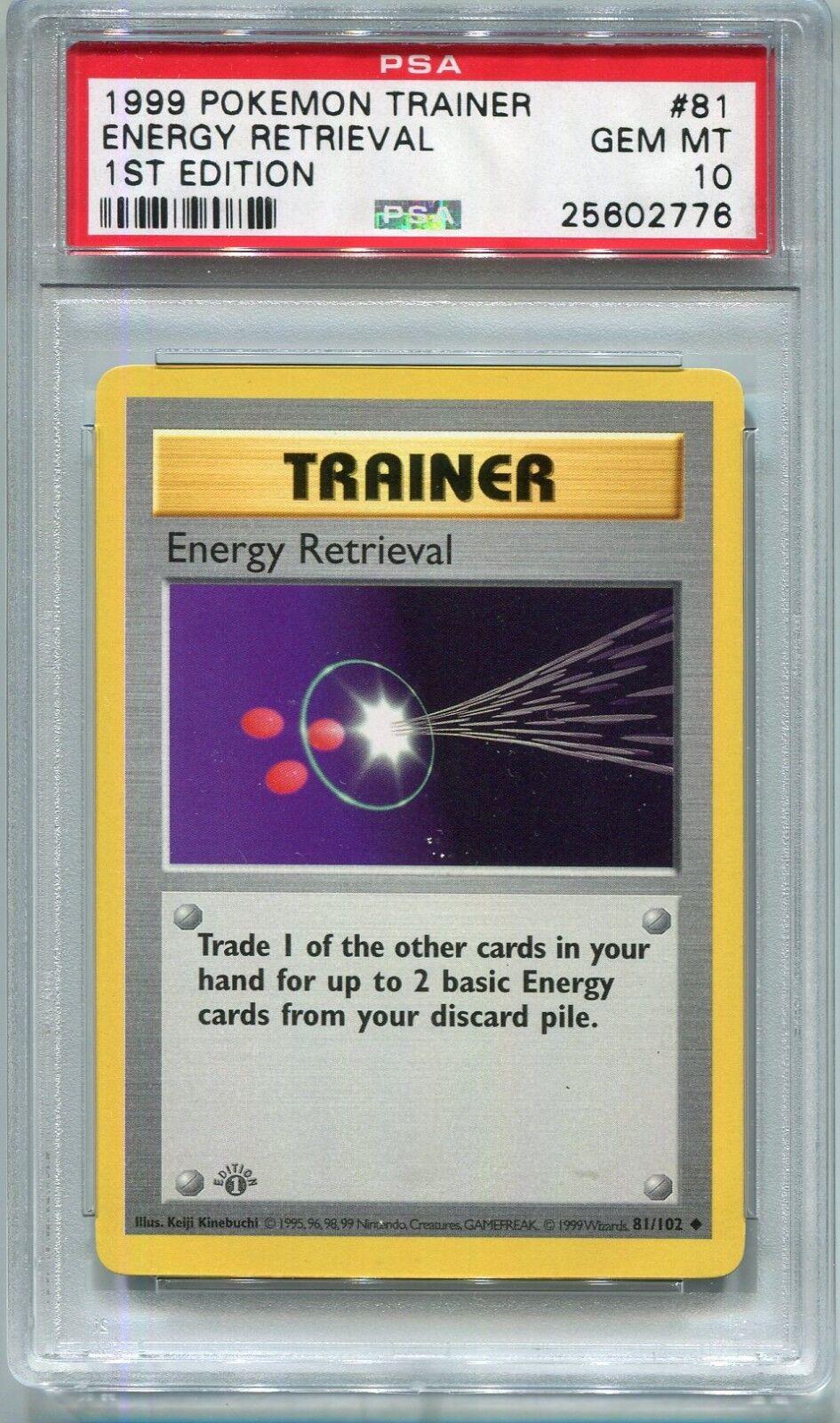 Pokemon Card Card Card 1st Edition Shadowless Energy Retrieval Base 81 102 PSA 10 Gem Mint 5fb4b7