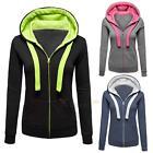 Womens Warm Fleece Hoodie Sweatshirt Hooded Jumper Jacket Zip Up Coat Tops