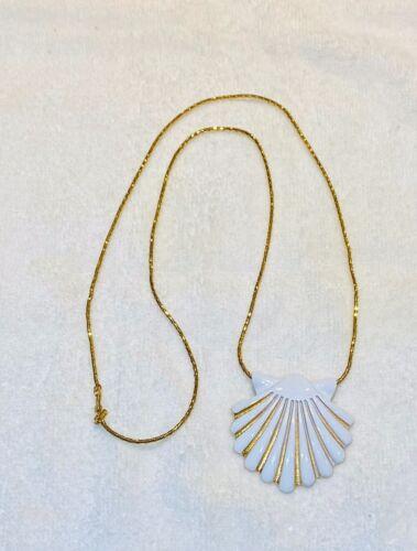 Retro 1970s Monet Vintage Wavy Fan Seashell Pendant Necklace ...