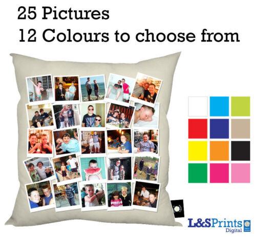 """Personnalisé Photo Collage montage Design 18x18 /""""Coussin 12 Couleurs 25 images"""