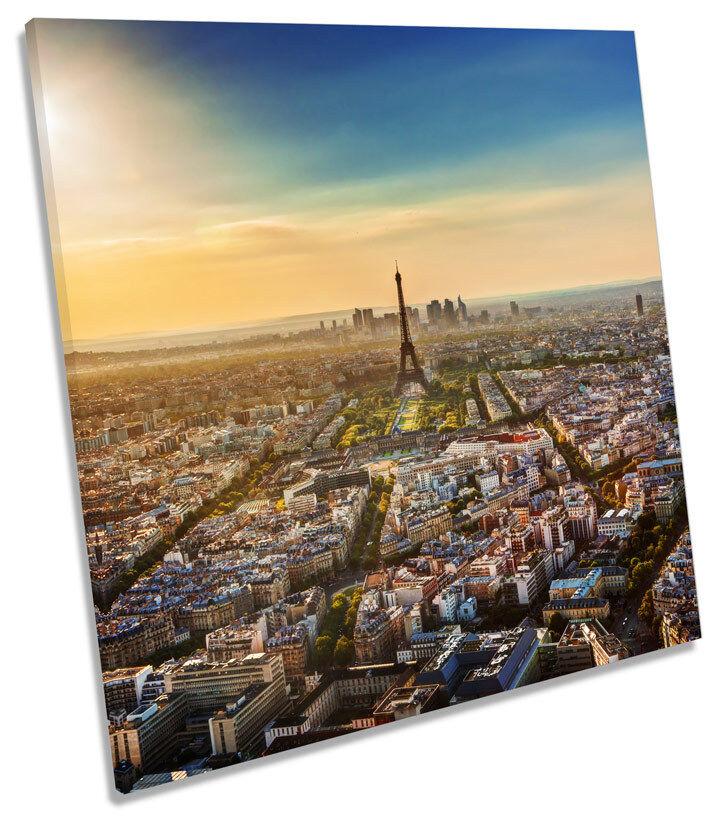 Eiffel Tower Sunset Paris City SQUARE CANVAS WALL ART Picture Print