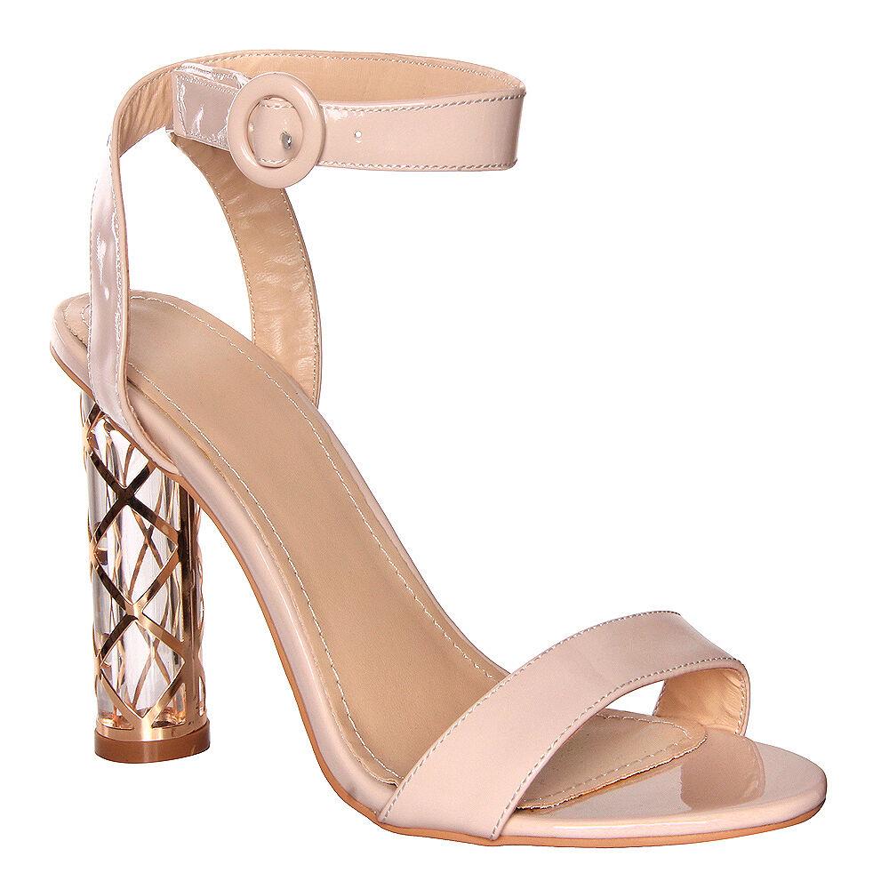 Womens Ladies Nude Patient With High Heel Detailed Heel With Patient Buckle Strap Heel Size 88ae0d