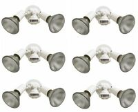 (6) Cooper Lighting Ms34w 110 White Motion Activated Dual Floodlight Fixtures