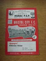 27/10/1956 Bristol City v Huddersfield Town  (staple removed, folded)