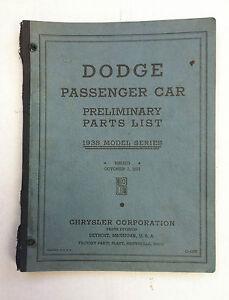 Details about 1938 Dodge Parts Book