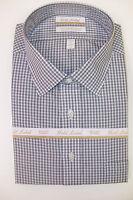 Roundtree & Yorke Gold Label Ez Non Iron Plaid Dress Shirt Black White $75