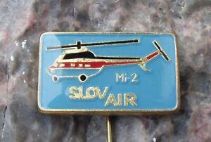 Vintage Slov Air Czechoslovakian Airline Mil Mi-2 Soviet Helicopter Pin Badge
