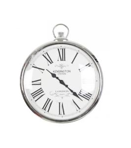 Argent-Kensington-Station-Montre-de-poche-style-horloge-murale-style-classique-42-cm