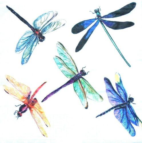 4 Lunch Paper Napkins for Decoupage Party Table Vintage Dragonflies Rainbow