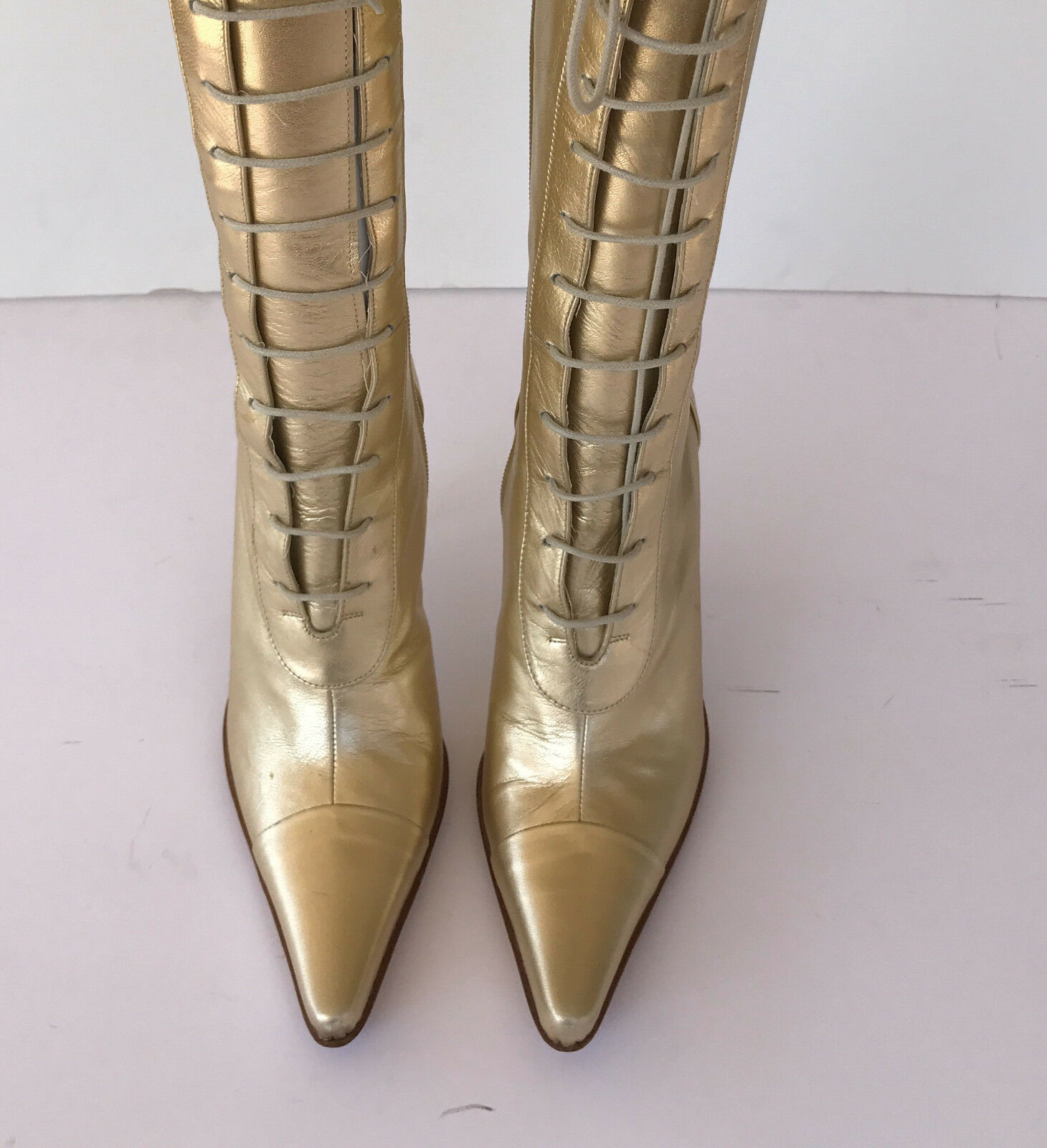 Charles David Lace Up gold Boots