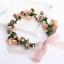 Princess-Wedding-Bridal-Coffee-Pearl-Rose-Flowers-Silk-Ribbon-Hair-Band-Headband miniature 2