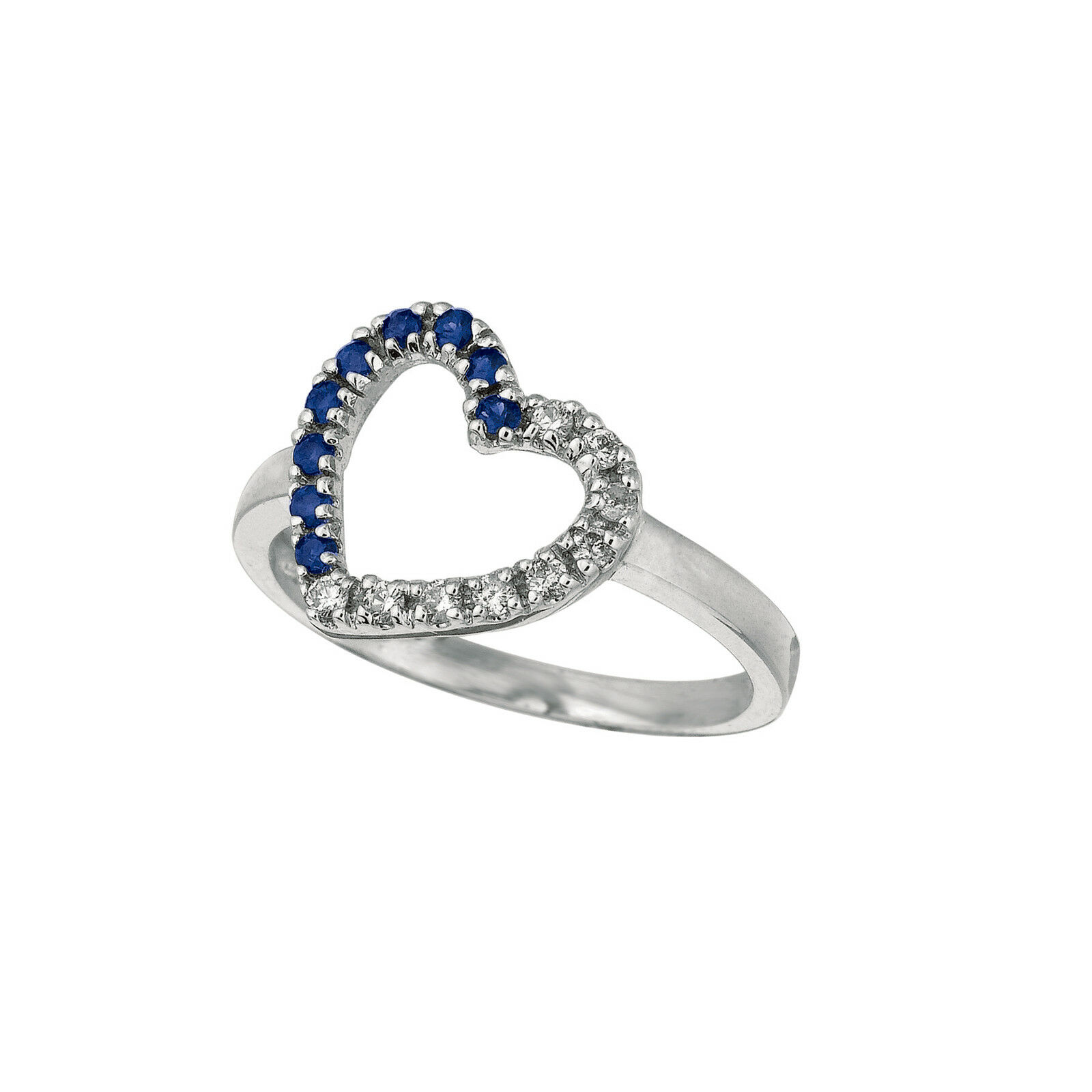 0.13 CT Diamond & Sapphire Heart Ring Set In 14K White gold IDJR5988WDS
