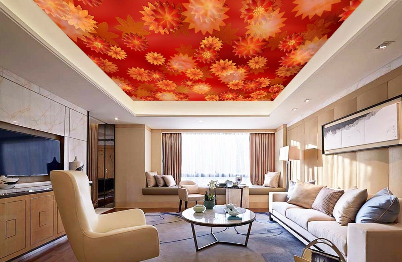 3D Cute Red Petals 8 Ceiling WallPaper Murals Wall Print Decal Deco AJ WALLPAPER
