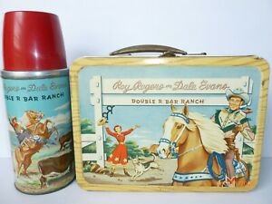 1954 Vintage ROY ROGERS DOUBLE R RANCH metal LUNCH BOX & THERMOS - western