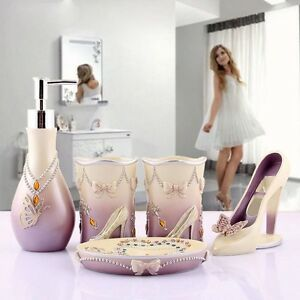 Lady High Heels Bathroom Accessories Set Soap Holder Wash Cup Lotion