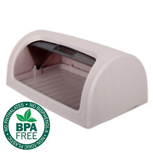 Bread-Bin-Box-Kitchen-Food-Roll-Top-Storage-Loaf-Curved-BPA-Free-Plastic-PINK