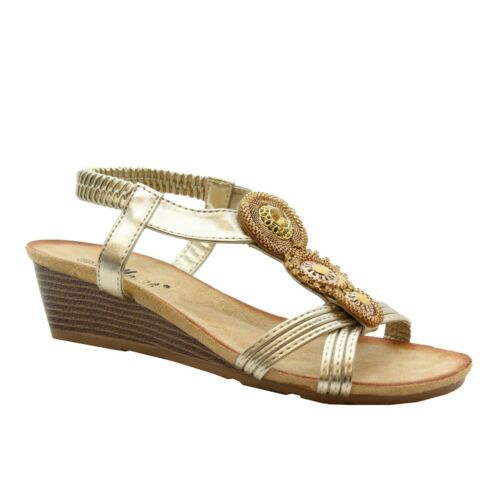 Ladies Women Mid Wedge Platform Peeptoe Shoes Diamante Party Summer Sandals Size