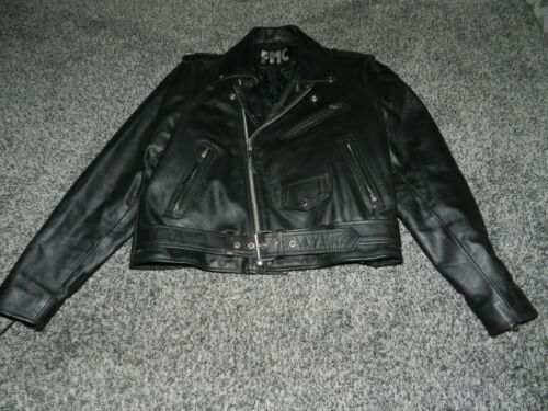 LADIES FMC BLACK LEATHER BELTED BELTED MOTORCYCLE