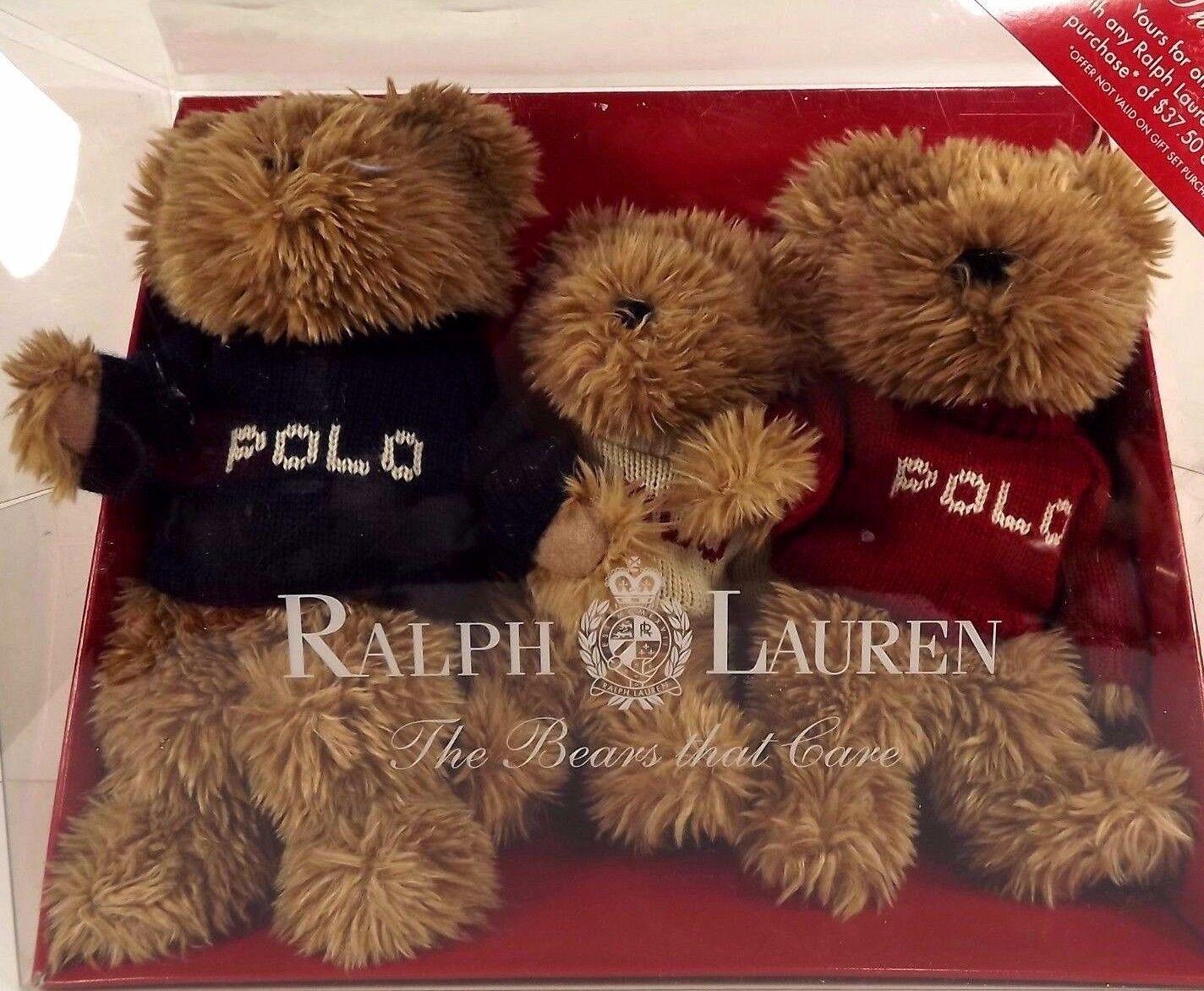 Ralph Lauren Bears That Care Polo Teddy Set 2002 Sweaters 3 Sizes marrone Plush