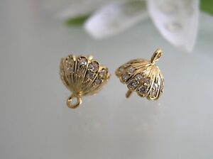 Image Is Loading Pair Of Solid 14k Gold W Diamonds Earrings