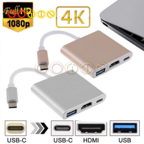 Type C to 1080P HDMI USB 3.0 Charging HUB USB-C Adapter Converter For Macbook 4K