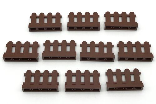 Lego 10 New Reddish Brown Fences 1 x 4 x 2 Paled Picket Pieces