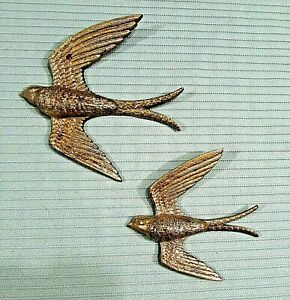 Large Small Gold Glitter Vintage 1984 Plastic Barn Swallow