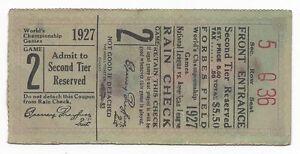 1927-World-Series-baseball-ticket-Pittsburgh-Pirates-New-York-Yankees-Babe-Ruth