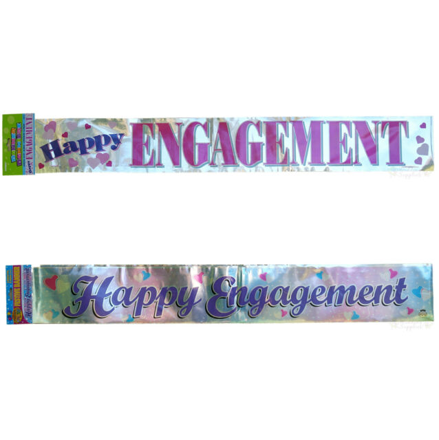 Happy Engagement Party Foil Banner Hanging Decorations Supplies
