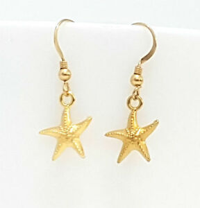 Starfish-Earrings-Gold-Satr-Fish-Small-Charm-Pendant-Sea-Jewelry-Dangle-hook
