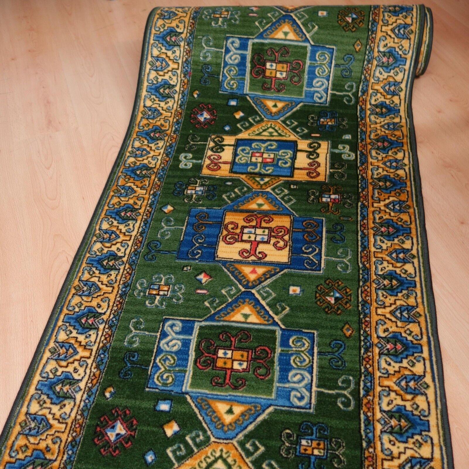 Teppich Läufer  AW Ghasgai Grün  95x200 cm Velours NEU B Ware | Konzentrieren Sie sich auf das Babyleben