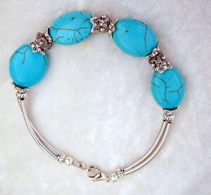 Sur Argente Mesa Style Navajo Indien Turquoise Bracelet Perles Fleurs Détails Grosses rBedWCxo
