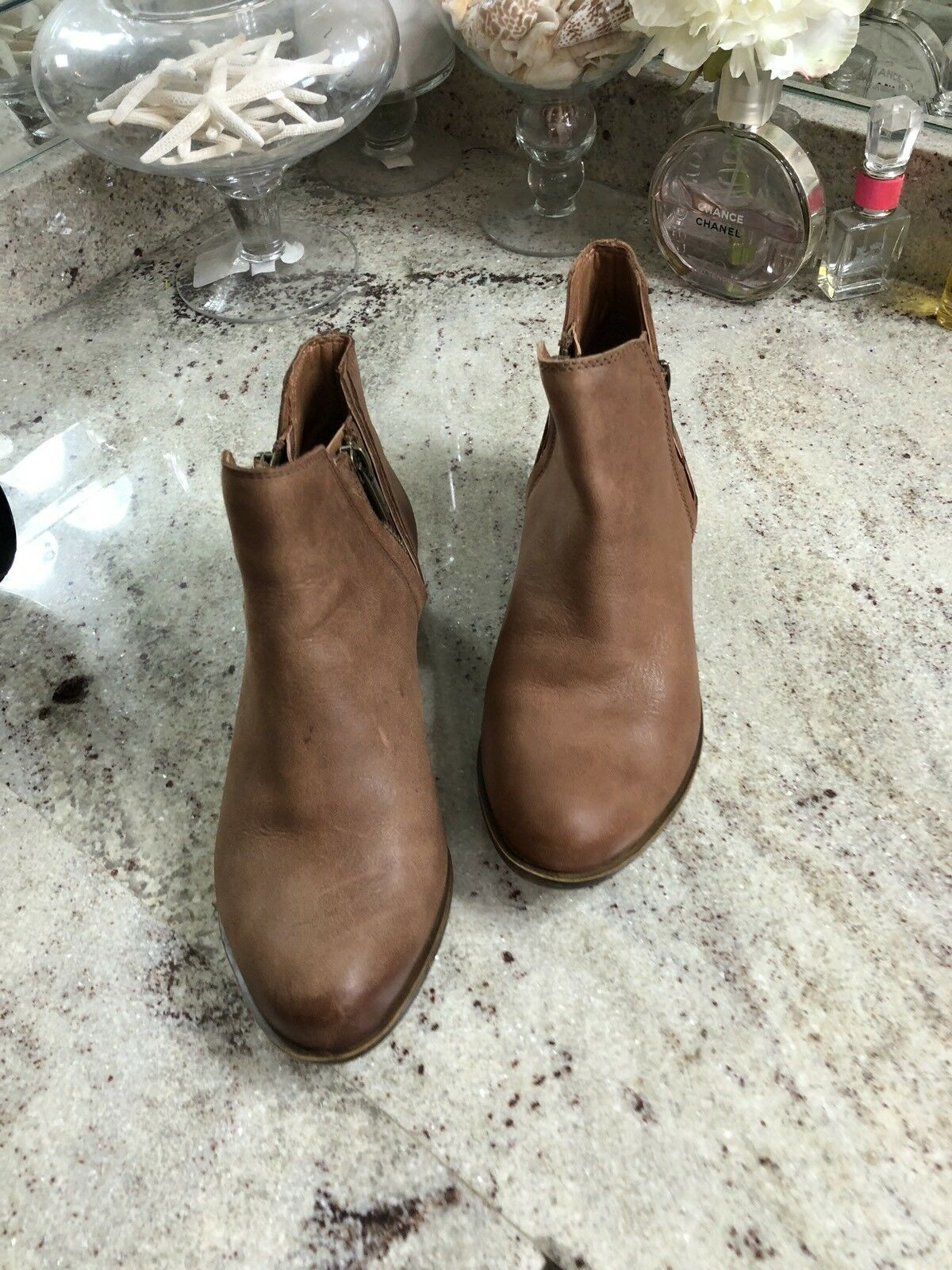 Lucky Brand Brenon Brown Leather Ankle Boots 6 M Euc