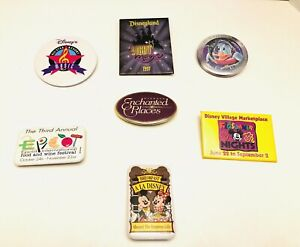 Vintage-Lot-Of-7-Walt-Disney-World-Disneyland-Resorts-Collector-s-Button-Pins