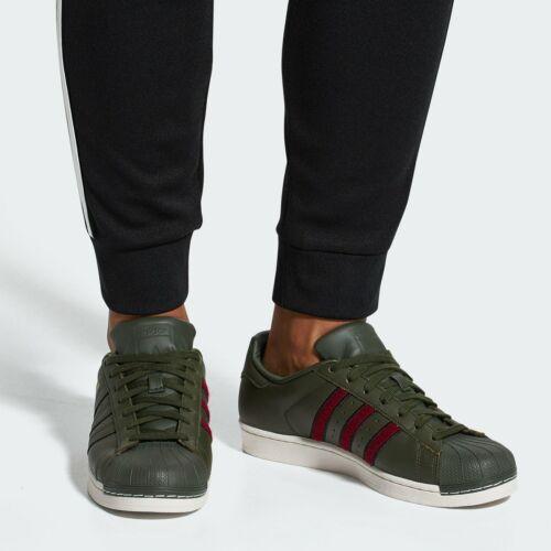 adidas Originals Superstar Trainers Green Cargo Red Mens Boys SIZE 3.5 Junior