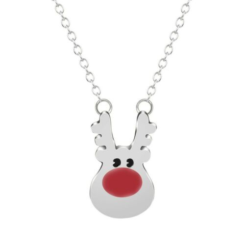 Gold or Silver RUDOLF Reindeer Pendant Necklace Delicate Chain Christmas 45cm UK