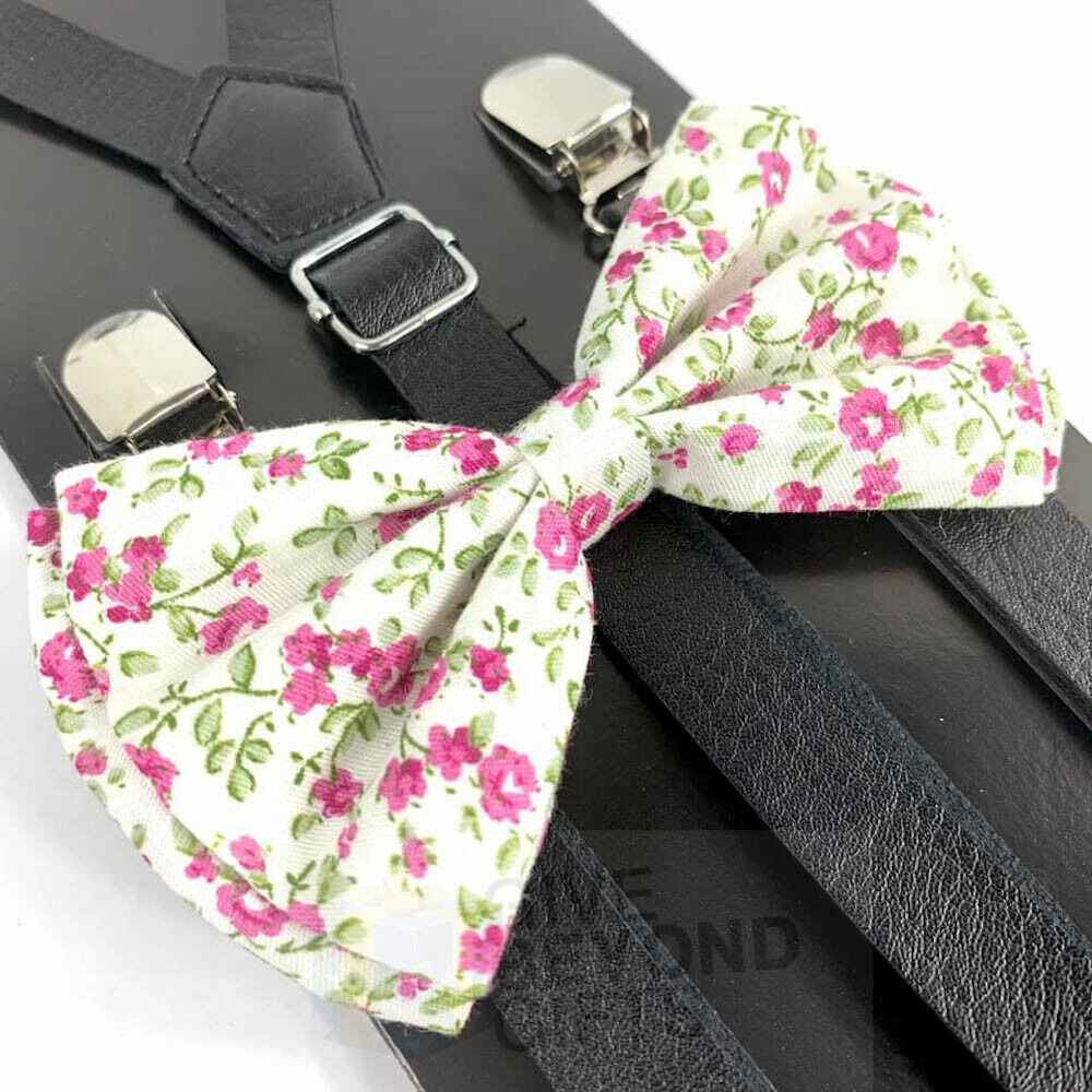 Suspender and Bow Tie Adult Skinny Leather Mini Floral Formal Wear Accessory