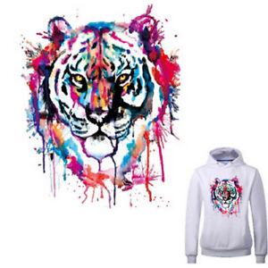 26c0d3bd6d5691 Das Bild wird geladen Tiger-Patches-fuer-Kleidung-waschbar -Buegeln-Aufkleber-Print-
