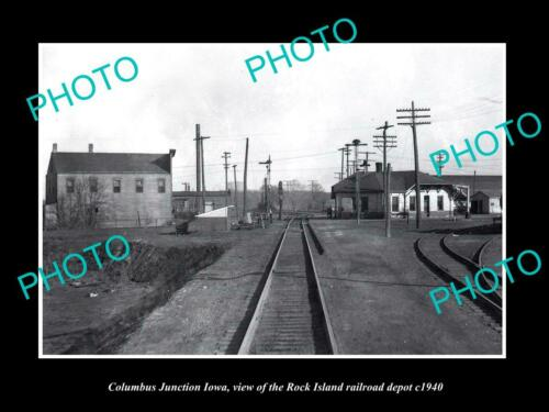 OLD 6 X 4 HISTORIC PHOTO OF COLUMBUS JUNCTION IOWA RAILROAD DEPOT STATION c1940
