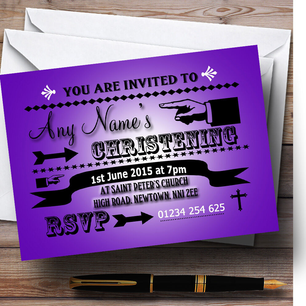 Dark lila Typography Word Art Christening Party Personalised Invitations