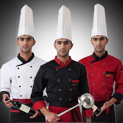 New Men Chef Long Sleeve Coat Uniform Jacket Clothing Kitchen Restaurant