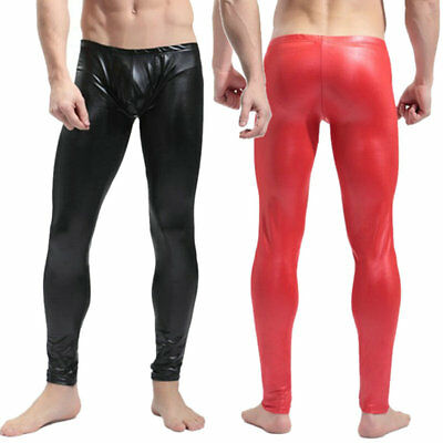 Men's Sexy Long John Shiny Faux Leather Club Dance Pants Skinny Muscle Tights