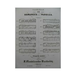 Mendelssohn 12 Romances Op 71 Et 84 Piano Ca1852 Partitur Sheet Music Score MöChten Sie Einheimische Chinesische Produkte Kaufen? Musikinstrumente