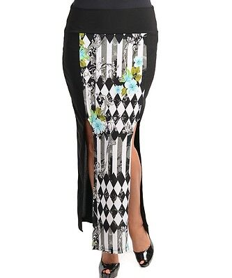 WOMENS PLUS SIZE CLOTHING BLACK MAXI SKIRT WITH PATTERNED FRONT PANEL