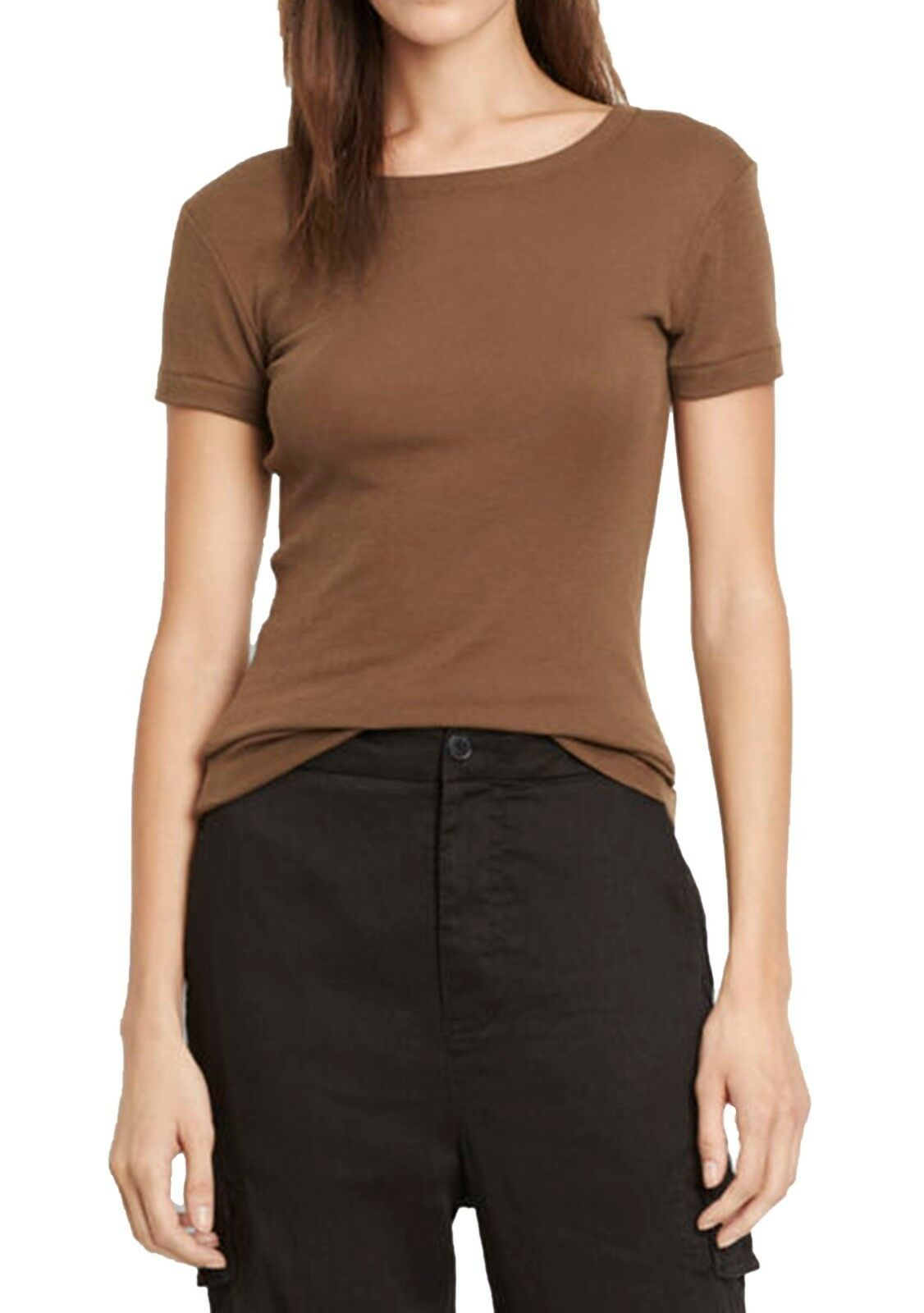NWT  Vince Women's 70's Tee Knit Top Short Sleeve Brown fit T- Shirt Small S