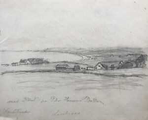 Zeichnung-Studie-Blick-ueber-Nordstrand-Klint-M-n-Daenemark-um-1900-Ostsee-26-x-21