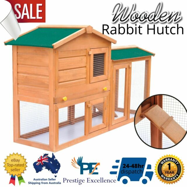 Rabbit Hutch Cage Guinea Chicken Wooden Coop House Ferret Large Bunny Hutches AU