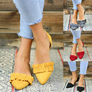 Women-Ladies-Fashion-Pointed-Toe-Flat-Solid-Casual-Loafers-Single-Shoes-Size
