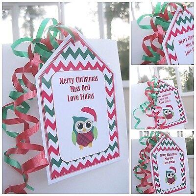 1 X Natale Personalizzata Grazie Maestra Regalo Di Natale Regalo Etichetta Tag Wise Owl-mostra Il Titolo Originale